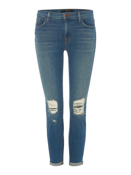J Brand Mid rise ripped crop skinny jean in breathless