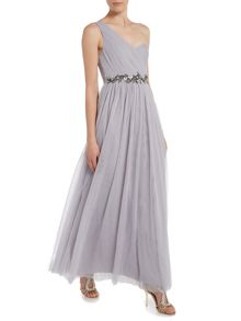 One Shoulder Embellished Waist Maxi Dress