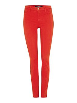 Mid rise luxe sateen skinny jean in torch