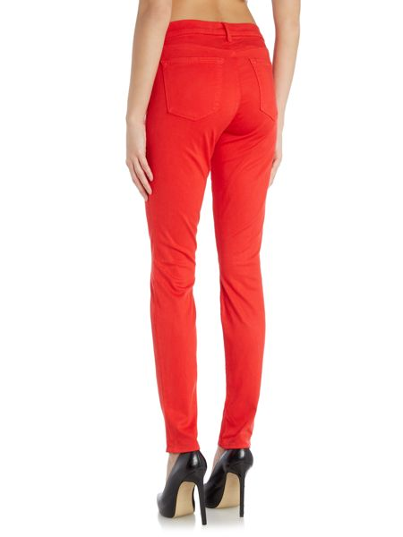 J Brand Mid rise luxe sateen skinny jean in torch red