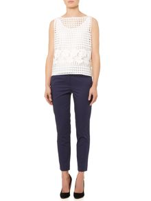 Marella Judy sleeveless open woven floral top