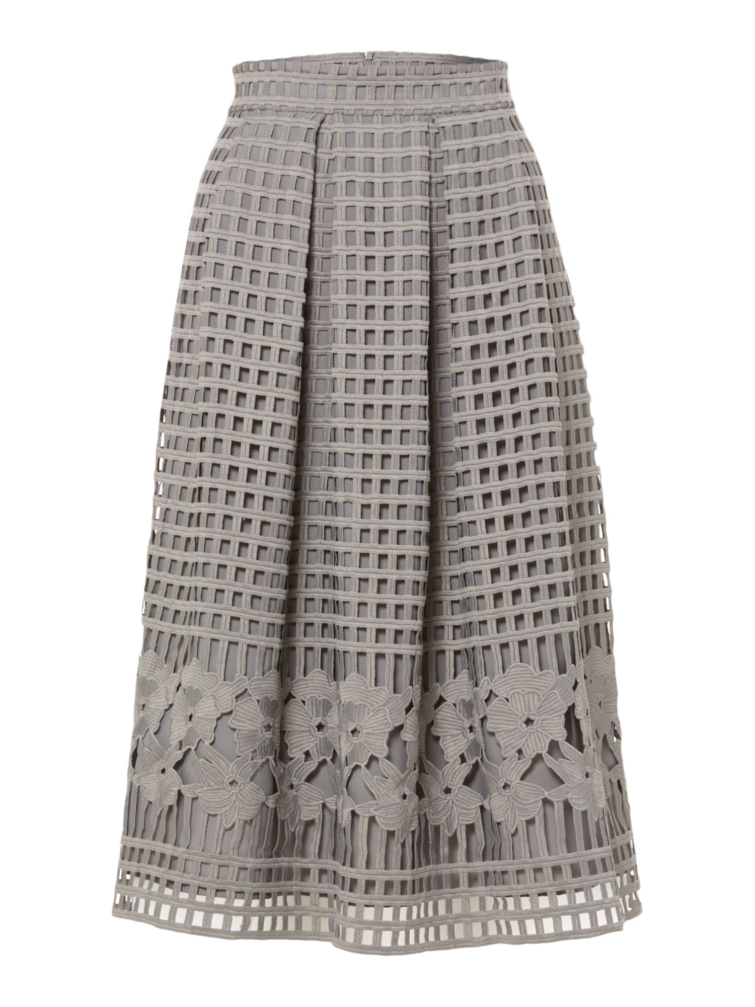 Marella Cheer open woven floral skirt, Grey