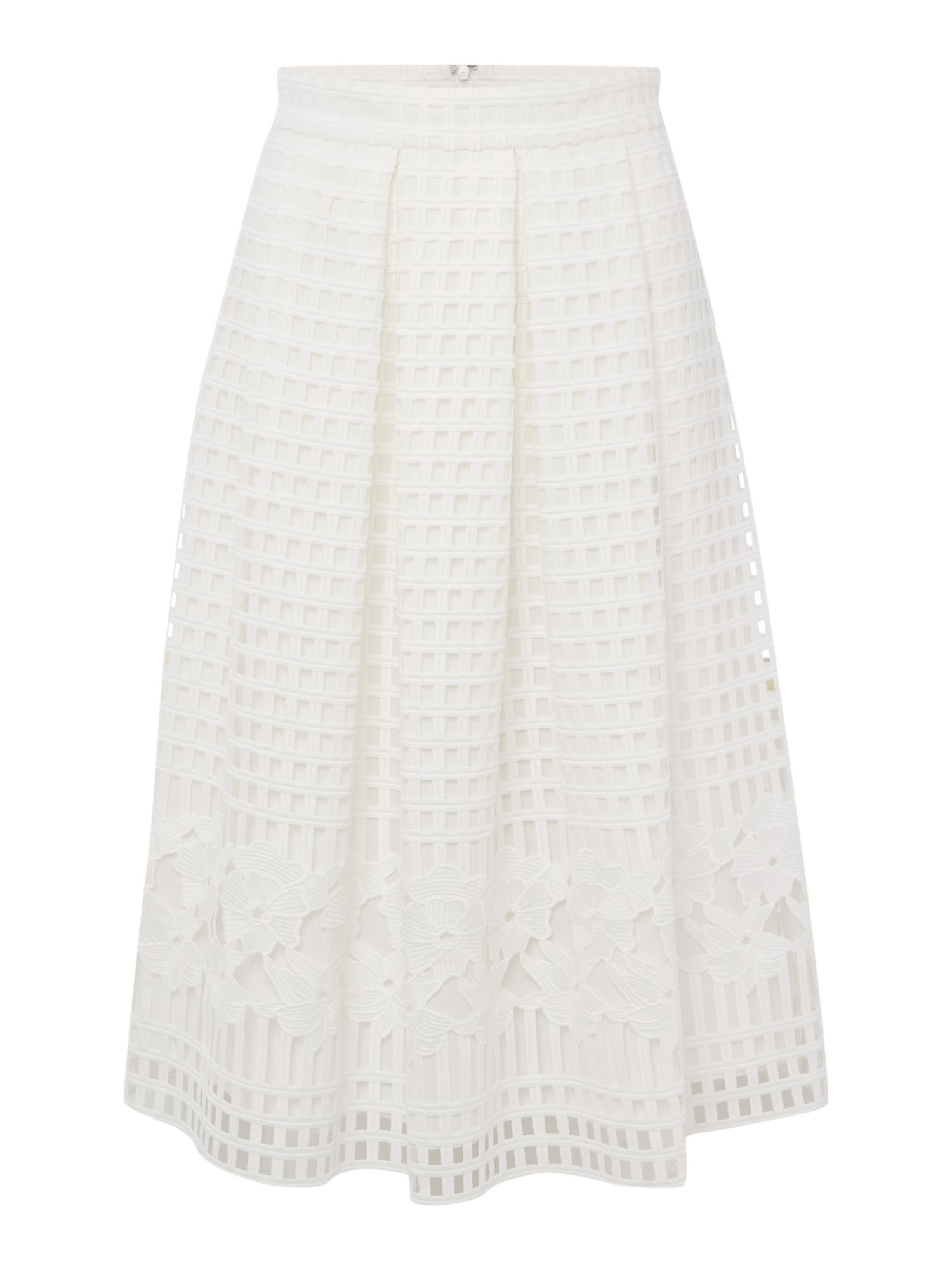 Marella Cheer open woven floral skirt, White