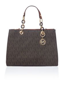 Michael Kors Cynthia brown medium satchel bag