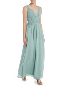 Little Mistress Sleeveless Plunge Neckline Chiffon Maxi Dress
