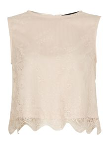 Little Mistress Scallop Hem Lace Top