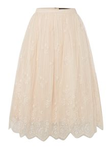 Little Mistress Scallop Hem Lace Skirt