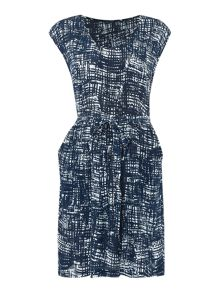 Dickins & Jones Printed U Neck Dress with Waist Tie