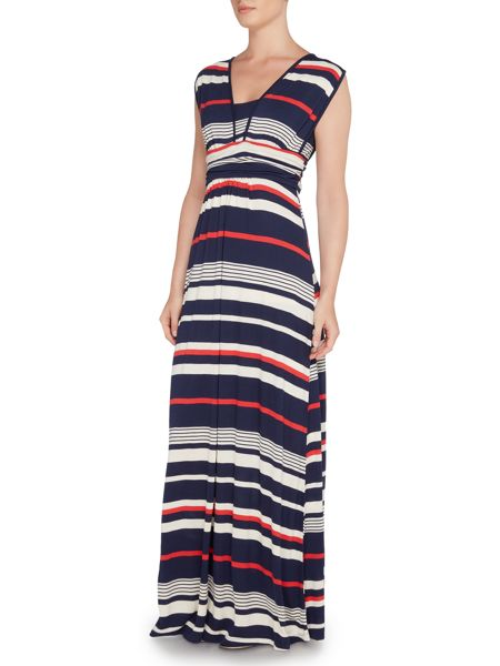Dickins & Jones Striped Maxi Dress With V Neckline