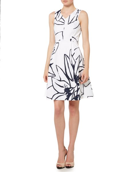 Ellen Tracy V neck printed dress
