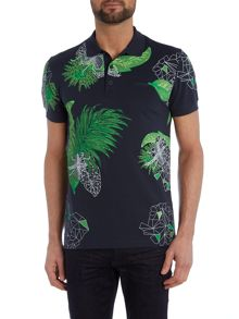 Hugo Boss Paule 8 slim fit floral geo print polo shirt