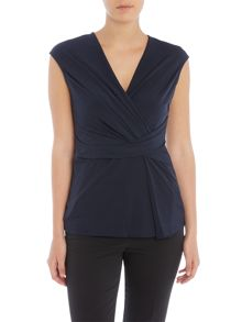 Ellen Tracy Side twist cap sleeve top