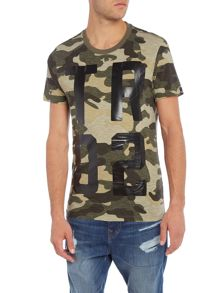 True Religion Regular fit all over camo print crew neck t shirt