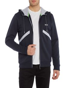 Hugo Boss Saggy 1 contrast panel zip through logo hoodie