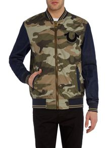 True Religion Regular fit collegiate camo denim jacket