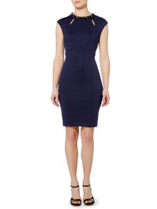 Pied a Terre Embellished neck bodycon dress