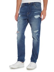 True Religion Mick slim fit ripped and worn light wash jeans