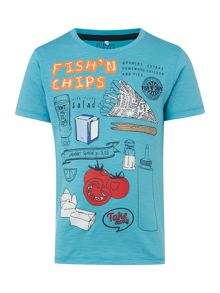 name it Boys Fish and chips graphic tee