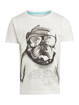 Boys Bulldog in glasses graphic tee