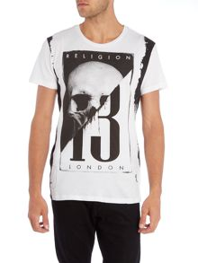 Religion Regular fit skull 13 print crew neck t shirt