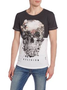 Religion Regular fit skull and rose crew neck t shirt
