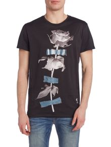 Religion Regular fit single rose print crew neck t shirt