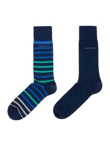 Hugo Boss 2 pack stripe and plain sock set