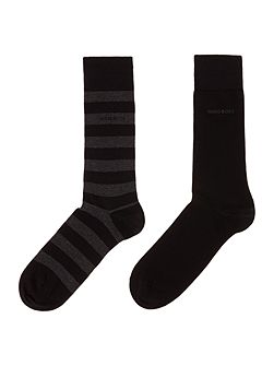2 pack wide stripe and plain sock set