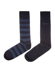 Hugo Boss 2 pack wide stripe and plain sock set