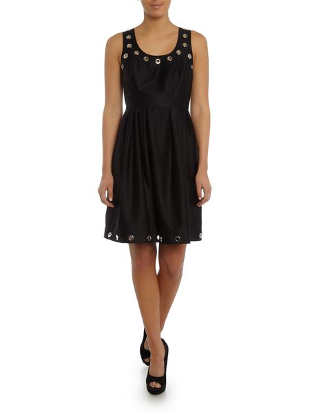 Episode Sleeveless fit & flare dress with silver eyelets
