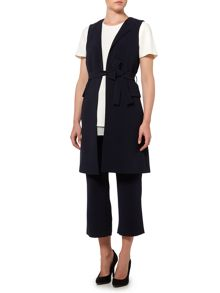 Ellen Tracy Sleeveless tie waist jacket