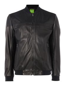 Hugo Boss C-Jenom baseball neck leather bomber jacket