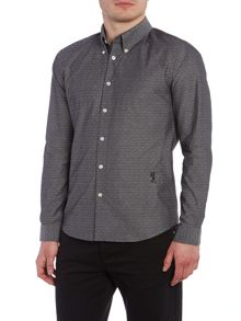 Religion Resent slim fit chambray dobby long sleeve shirt