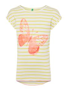 Benetton Girls Butterfly striped tee