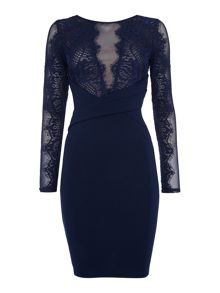 Sheer Lace Midi Bodycon Long Sleeved Dress