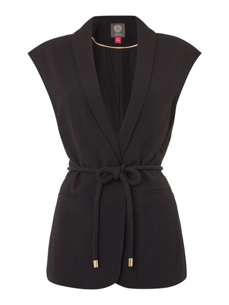 Vince Camuto Sleevless belted jacket