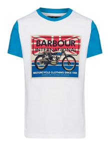 Boys Motorbike Flag Graphic T-shirt