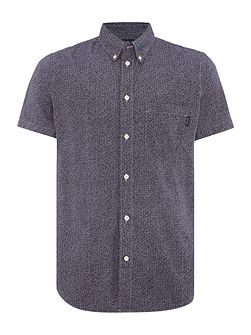 Short sleeve squiggle check print shirt