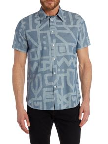 Paul Smith Jeans Short sleeve chambray print shirt