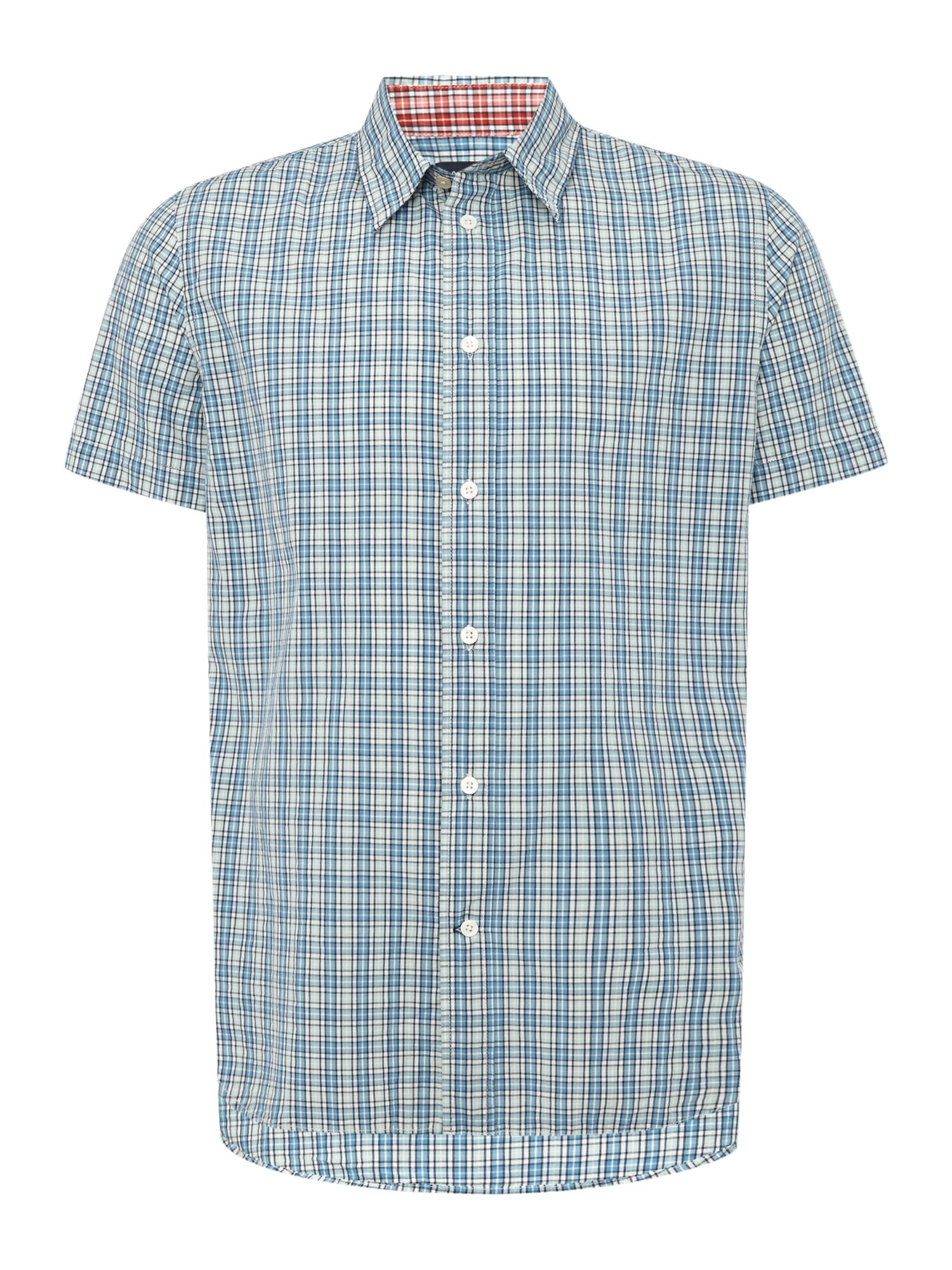 Paul Smith Jeans Men's Paul Smith Jeans Short sleeve small check print shirt, Blue