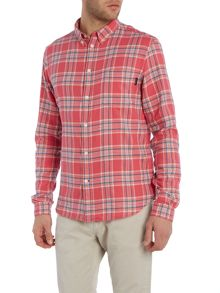 Long sleeve brushed check print shirt