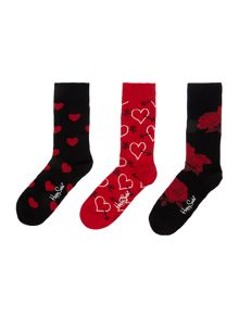 Happy Socks Valentines 3pp novelty gift box socks