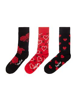 Valentines 3pp novelty gift box socks
