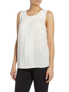Vince Camuto Chiffon sleeveless top with pleated detail