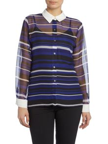 Vince Camuto Stripe blouse with contasting collar & blouse