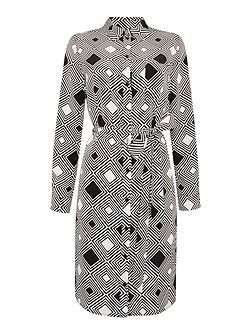 Printed woven shirt dress