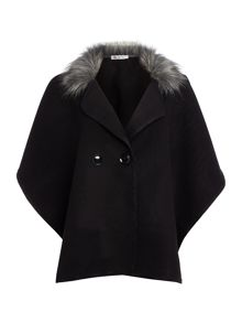 Wal-G Wide Sleeve Fur Trim Jacket
