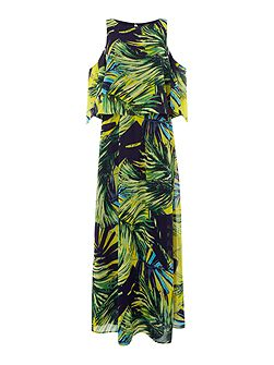 Candice Cold Shoulder Palm Print Dress