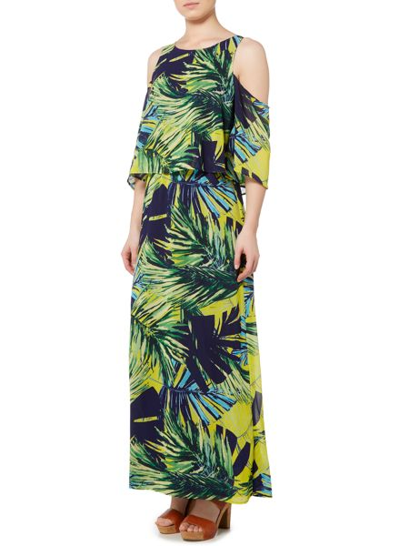 Therapy Candice Cold Shoulder Palm Print Dress