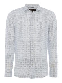 Michael Kors Lamar slim fit geo print long sleeve shirt